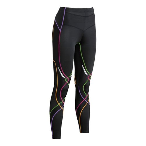 Womens CW-X Reflective Stabilyx Fitted Tights - Black/Rainbow XS