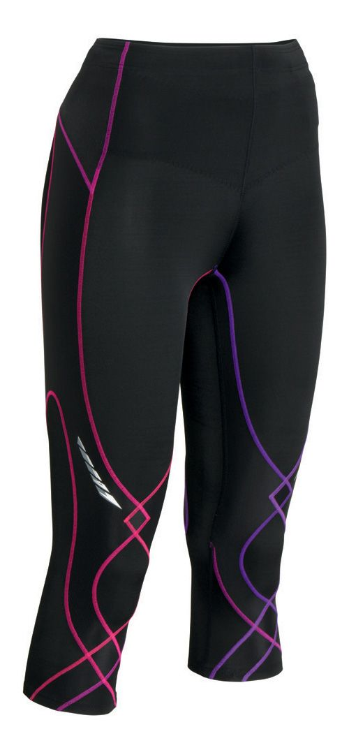 Womens CW-X 3/4 Length Stabilyx Capri Tights - Black/Purple XS