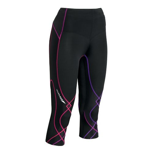 Womens CW-X 3/4 Length Stabilyx Capri Tights - Black/Purple S