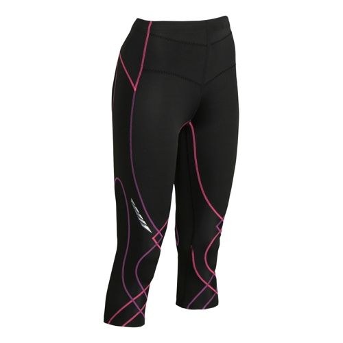 Womens CW-X 3/4 Length Stabilyx Capri Tights - Black/Fuschia XS