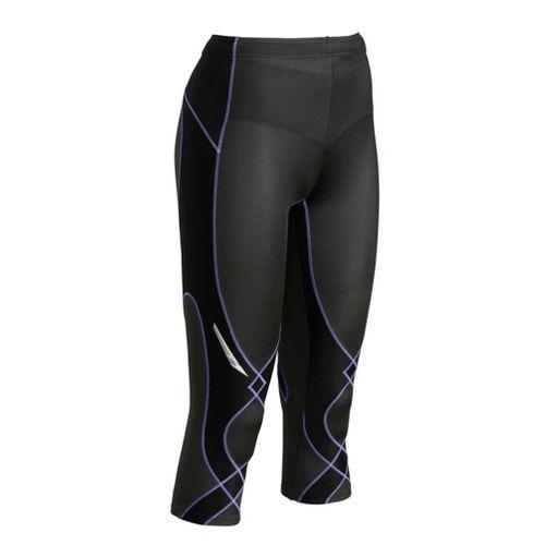 Womens CW-X 3/4 Length Stabilyx Capri Tights - Black/Lavender S
