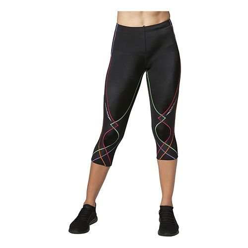 Womens CW-X 3/4 Length Stabilyx Capri Tights - Black Multi/Black M