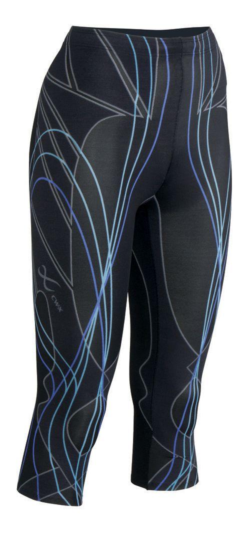 Womens CW-X 3/4 Length Revolution Capri Tights - Black/Blue S