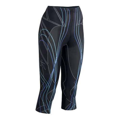 Womens CW-X 3/4 Length Revolution Capri Tights - Black/Blue L