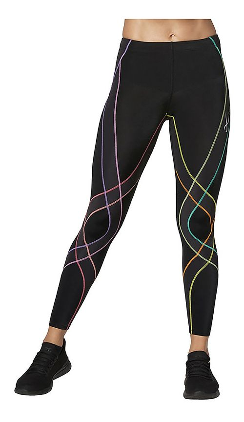 Womens CW-X Endurance Generator Fitted Tights - Black/Pastel Rainbow XS