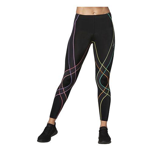 Womens CW-X Endurance Generator Fitted Tights - Black/Pastel Rainbow S