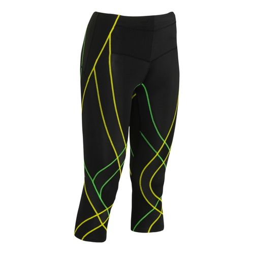 Womens CW-X Endurance Generator 3/4 Capri Tights - Black/Green L