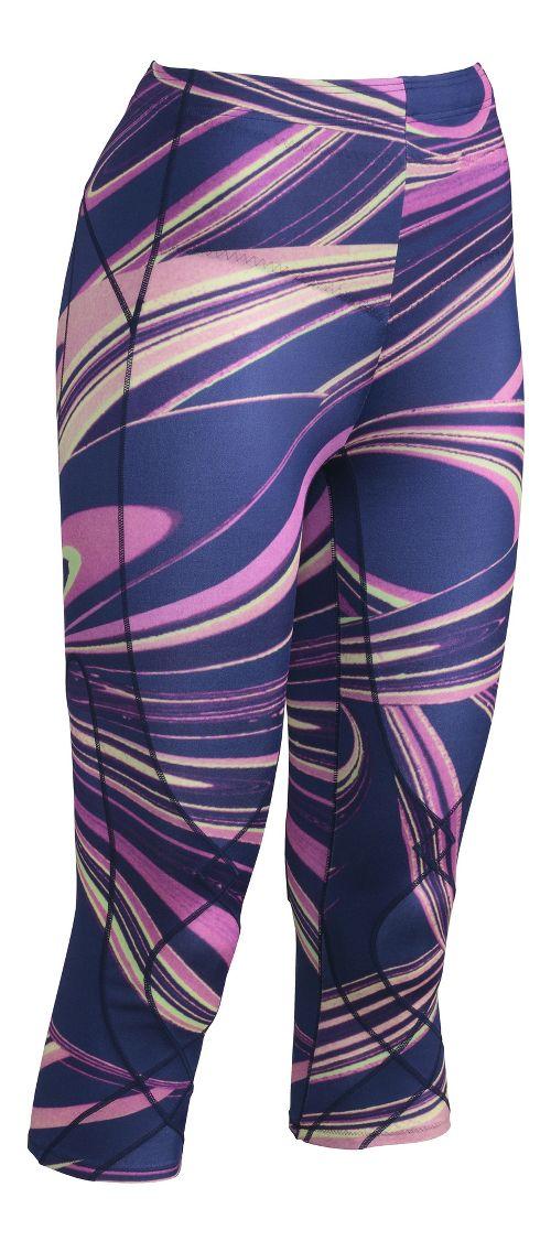 Womens CW-X 3/4 Length Stabilyx Print Capris Tights - Purple Lava Print XS