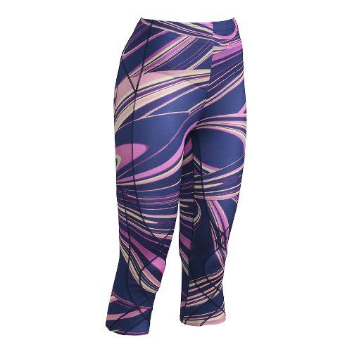 Womens CW-X 3/4 Length Stabilyx Print Capris Tights - Purple Lava Print S
