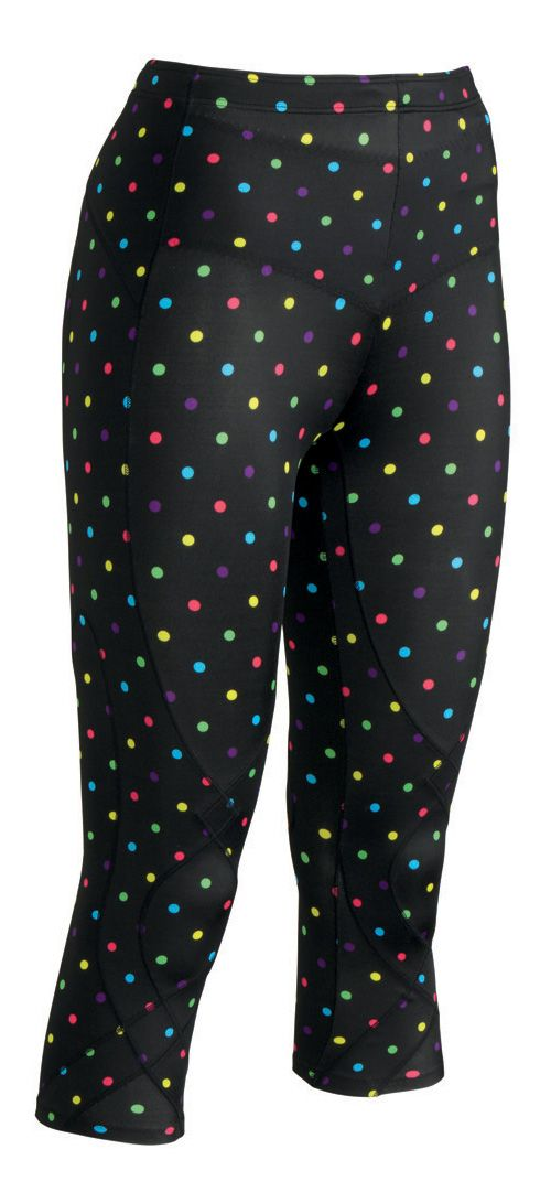 Womens CW-X 3/4 Length Stabilyx Print Capris Tights - Black/Polka Dots M
