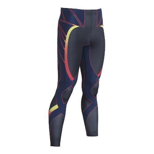 Mens CW-X Revolution Tights & Leggings Pants - Black/Yellow Blue Red M