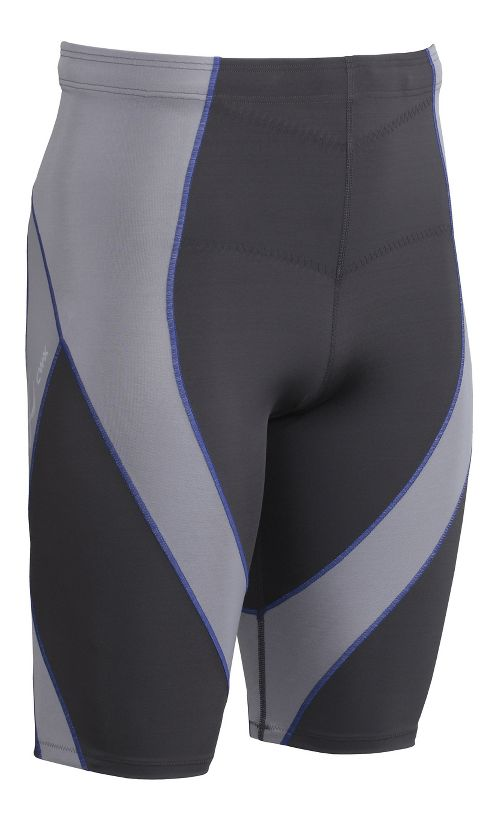 Mens CW-X Endurance Pro Compression & Fitted Shorts - Grey/Light Grey/Blue L