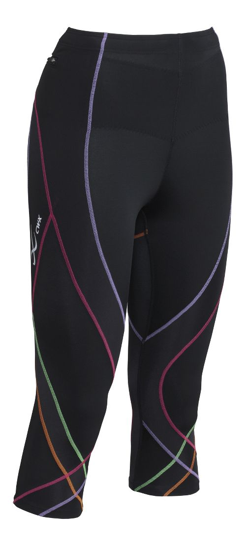 Womens CW-X 3/4 Pro Capris Tights - Black/Rainbow S