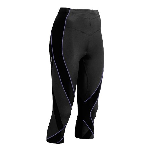 Womens CW-X 3/4 Pro Capri Tights - Black/Lavender XS