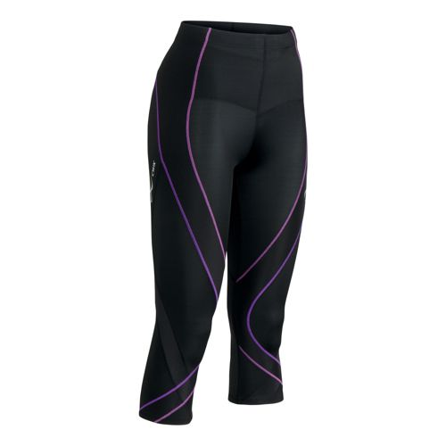 Womens CW-X 3/4 Pro Capri Tights - Black/Purple M