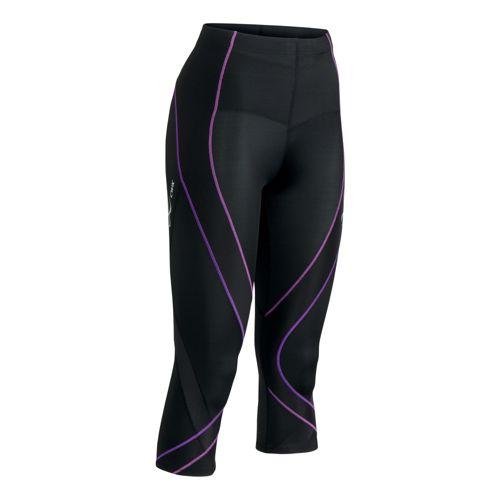 Womens CW-X 3/4 Pro Capri Tights - Black/Purple S