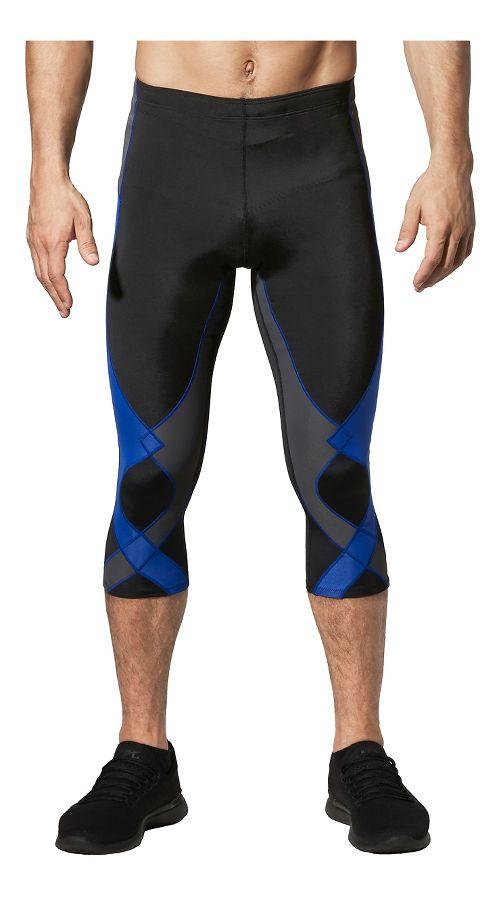Mens CW-X 3/4 Stabilyx Capris Tights - Black/Grey/Blue L