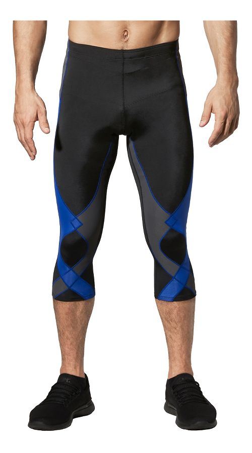 Mens CW-X 3/4 Stabilyx Capris Tights - Black/Grey/Blue M