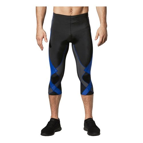 Mens CW-X 3/4 Stabilyx Capris Tights - Black/Grey/Blue L