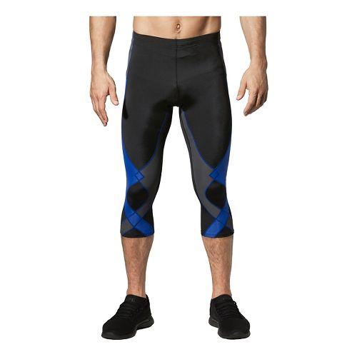 Mens CW-X 3/4 Stabilyx Capris Tights - Black/Grey/Blue XL