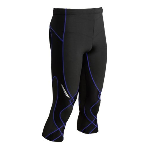 Mens CW-X 3/4 Stabilyx Capri Tights - Black/Blue Stitch S