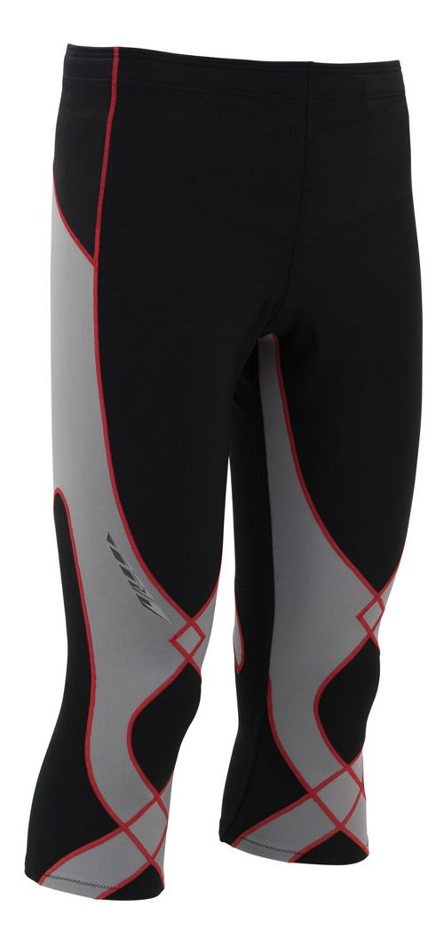 Mens CW-X Insulator Stabilyx 3/4 Capris Tights - Black/Light Grey/Red S