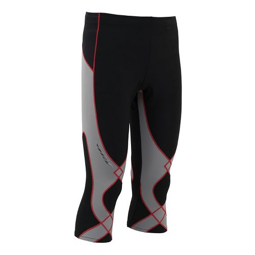 Mens CW-X Insulator Stabilyx 3/4 Capris Tights - Black/Light Grey/Red L