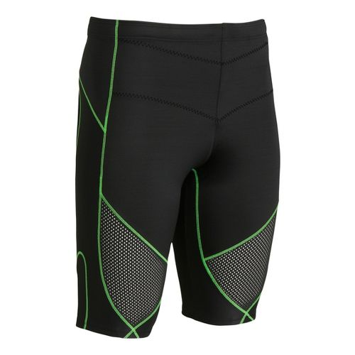 Mens CW-X Stabilyx Ventilator Fitted Shorts - Black/Green L