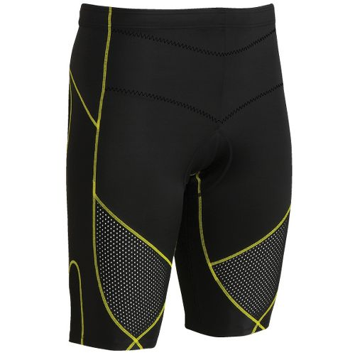 Mens CW-X Ventilator Stabilyx Tri Fitted Shorts - Black/Yellow Stitch S