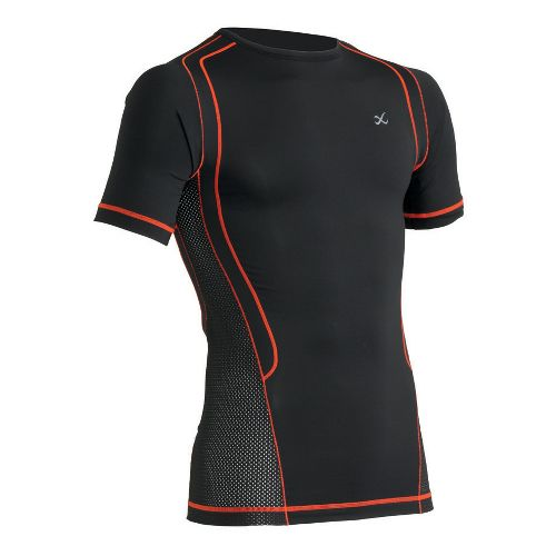 Mens CW-X Ventilator Web Top Short Sleeve Technical Tops - Black/Orange XL