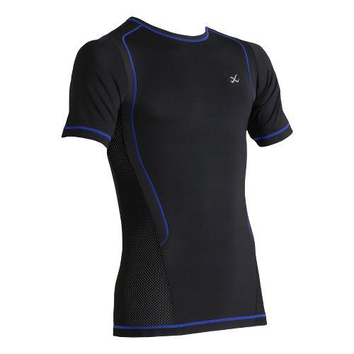 Mens CW-X Ventilator Web Short Sleeve Technical Tops - Black/Blue Stitch L