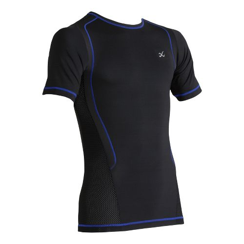 Mens CW-X Ventilator Web Top Short Sleeve Technical Tops - Black/Blue Stitch S