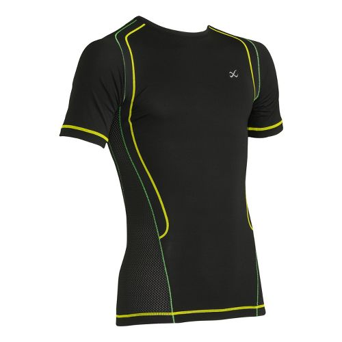Mens CW-X Ventilator Web Short Sleeve Technical Tops - Black/Green L