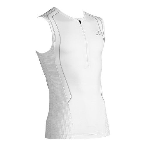 Mens CW-X Ventilator Web Tri Sleeveless Technical Tops - White/Light Grey XL