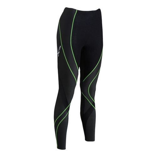 Womens CW-X Insulator Endurance Pro Fitted Tights - Black/Lime XS