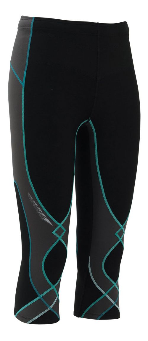 Womens CW-X Insulator Stabilyx 3/4 Capris Tights - Black/Grey/Turquoise L