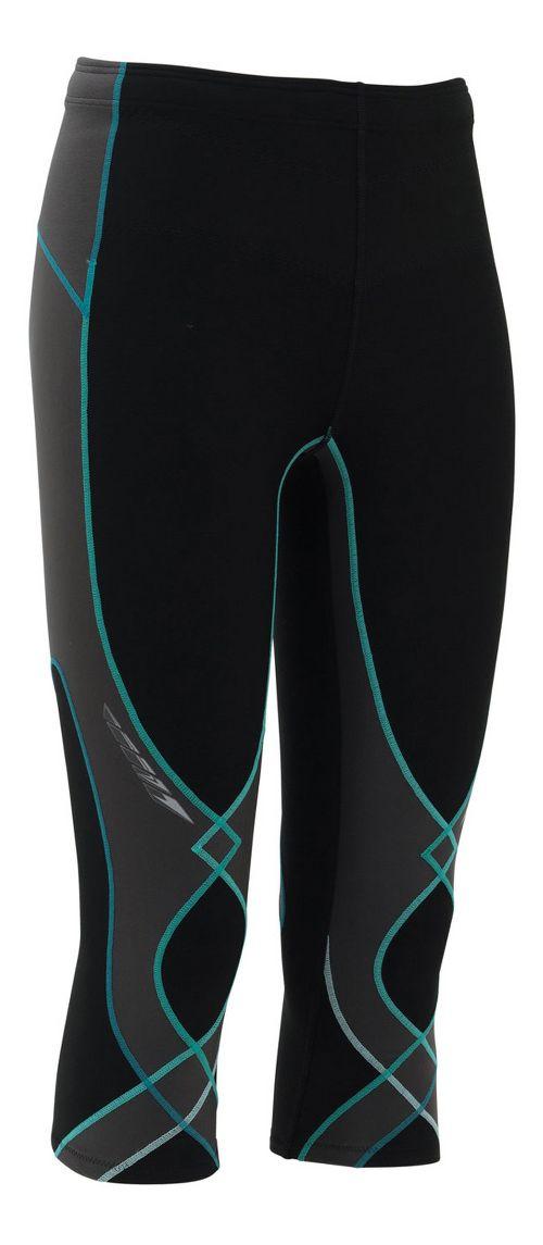 Womens CW-X Insulator Stabilyx 3/4 Capris Tights - Black/Grey/Turquoise S