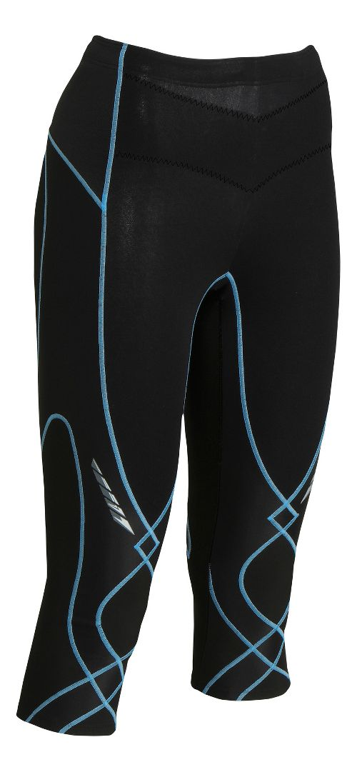Womens CW-X Insulator Stabilyx 3/4 Capris Tights - Black/Peri S