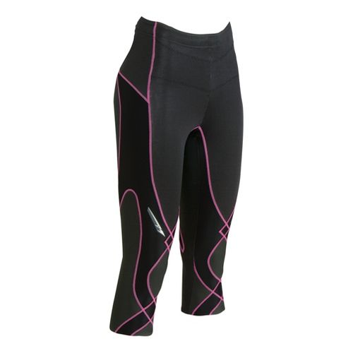 Womens CW-X Insulator Stabilyx 3/4 Capri Tights - Black/Rose Pink L