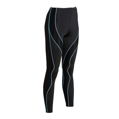 Womens CW-X Performx Fitted Tights - Black/Periwinkle S
