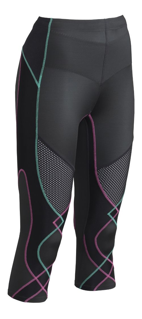 Womens CW-X Ventilator 3/4 Capris Tights - Pink/Turquoise L