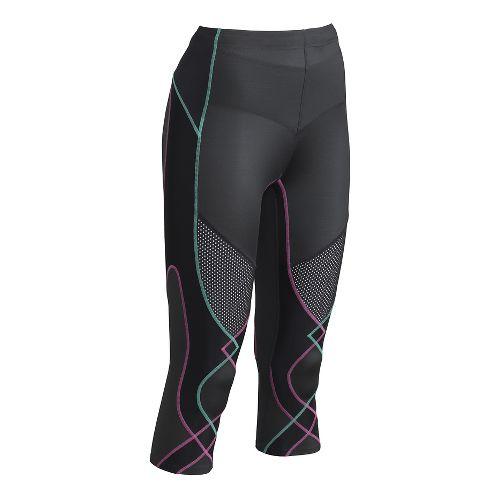 Womens CW-X Ventilator 3/4 Capris Tights - Pink/Turquoise L
