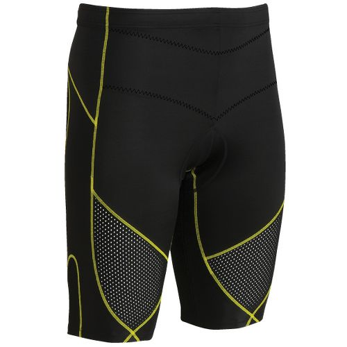 Womens CW-X Ventilator Stabilyx Tri Fitted Shorts - Black/Yellow Stitch M