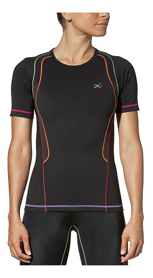 Womens CW-X Ventilator Web Short Sleeve Technical Tops - Black/Rainbow XS