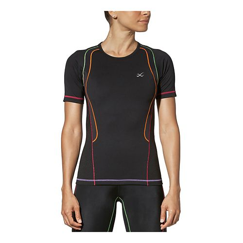 Womens CW-X Ventilator Web Short Sleeve Technical Tops - Black/Rainbow L