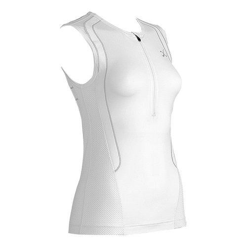 Womens CW-X Ventilator Web Tri Sleeveless Technical Tops - White/Light Grey M