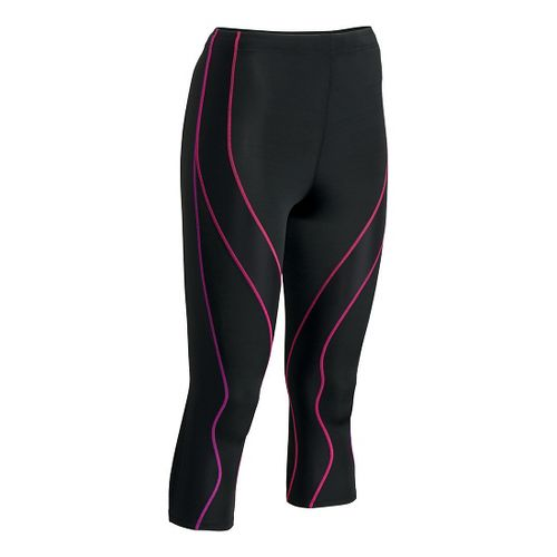 Womens CW-X 3/4 PerformX Capri Tights - Black/Purple XS
