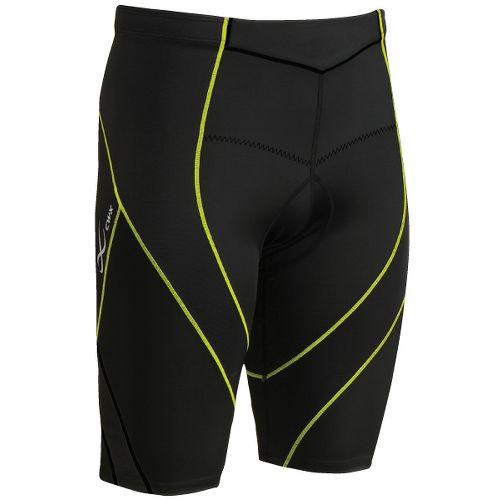 Mens CW-X Pro Tri Fitted Shorts - Black/Yellow Stitch L