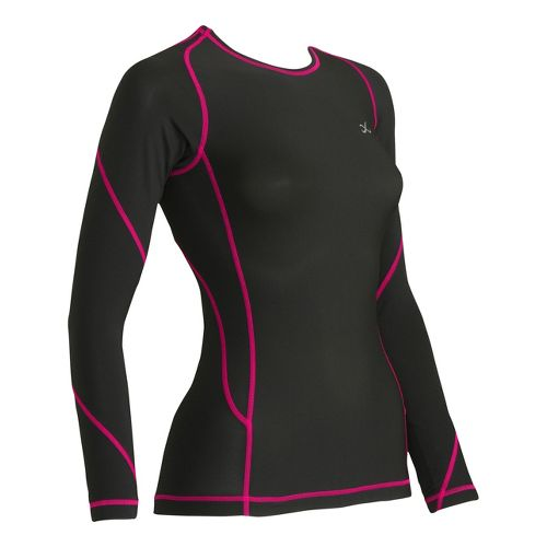 Womens CW-X TraXter Long Sleeve No Zip Technical Tops - Black/Raspberry S