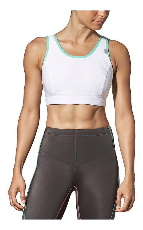 Womens CW-X Stabilyx Running Sports Bras - White/Turquoise 38D